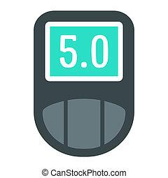 Digital glucometer icon, flat style