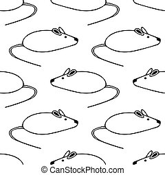 digital graphic seamless pattern white mouse on a white background.