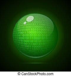 Digital green globe on a dark background