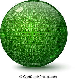 Digital green globe on a white background