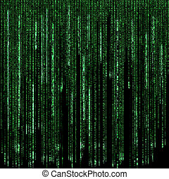 Digital green numbers and letters rain on a black background