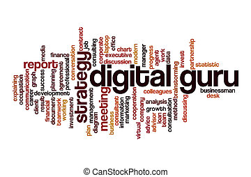 Digital guru word cloud concept on white background