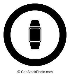 Digital hand clock icon black color in circle