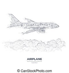 Digital hand drawing of airplane and clouds