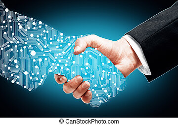 Digital handshake on blue background
