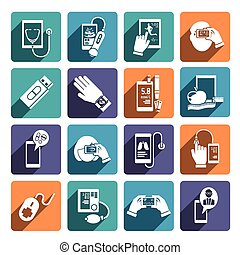 Digital health icons set of glucose level control fitness and diet app isolated vector illustration