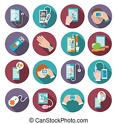 Digital health icons set of pocket therapist blood pressure...