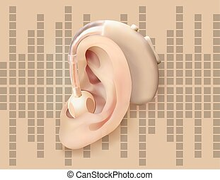 Digital hearing aid behind the ear, on the background of sound wave diagram. Treatment and prosthetics of hearing loss in otolaryngology. Realistic vector illustration. Medicine and health.
