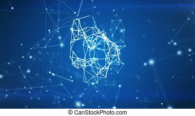 Digital Heart Icon Appearing in Network Cloud from Lines and Dots. Symbol Forming from Particles. Looped 3d Animation. Loop from 100 to 500 frames. Business and Technology Concept. 4k UHD 3840x2160.