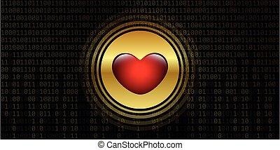 digital heart on golden binary code background