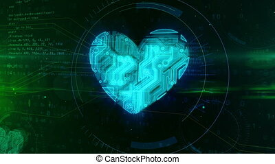 Digital heart symbol animation - Digital heart shape in...