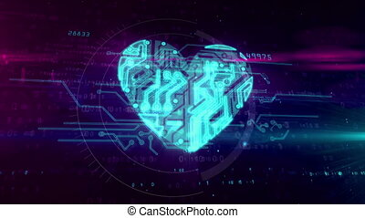 Digital heart symbol in cyberspace. Abstract animation of...