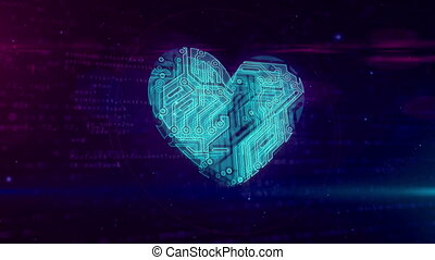 Digital heart symbol loop