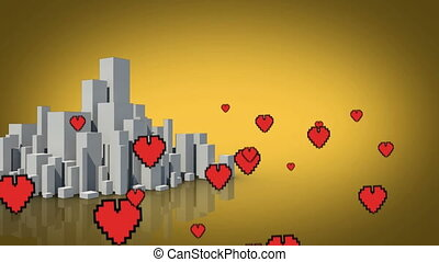 Digital hearts flying over a city