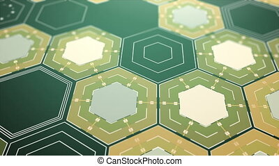 Digital Hexagons Background, Beautiful Abstract 3d...