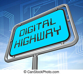 Digital Highway Sign Virtual Roadway 3d Illustration