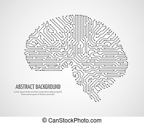 Digital human brain with computer circuit board. Electronic medicine technology vector concept