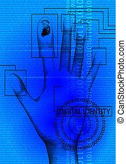 digital, identitet, blå