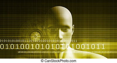 Digital Identity with an Android Faceless Head Art