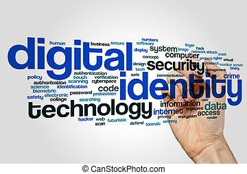 Digital identity word cloud concept on grey background