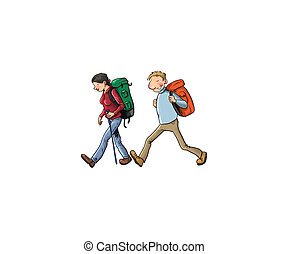 Couple trekking - Digital illustration of a Couple trekking...