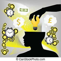 Digital illustration of a human hand putting idea bulb in human brain with clock and currency sign in background.