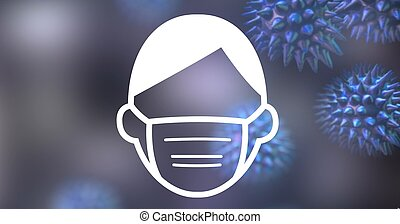 Digital illustration of a man wearing a face mask sign over ...