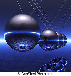 Newton Pendulum - Digital Illustration of a Newton Pendulum