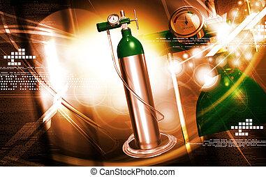 oxygen cylinder - digital illustration of a oxygen cylinder ...