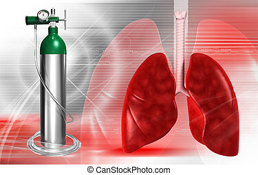 oxygen cylinder - digital illustration of a oxygen cylinder...