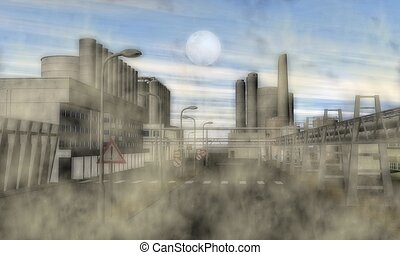 Surreal Industrial Area - Digital Illustration of a Surreal...
