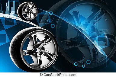Alloy wheel - Digital illustration of Alloy wheel in colour ...