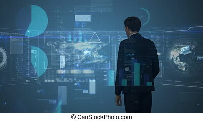 Digital illustration of business man touching futuristic screen