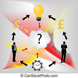 Digital illustration of businessmen with question mark, idea bulb, clock and currency symbols.