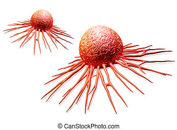 cancer cell - Digital illustration of cancer cell in colour...
