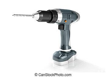 cordless drill - Digital illustration of cordless drill in...