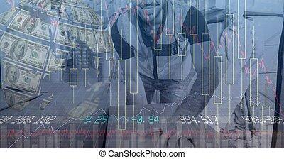 Digital illustration of delivery man holding cardboard box ...