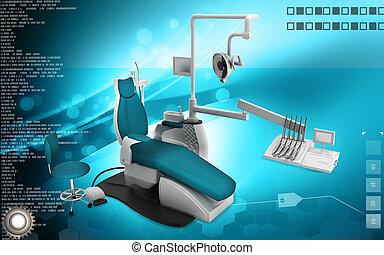 Digital illustration of Dental unit in colour background