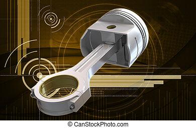 engine piston - Digital illustration of engine piston in...