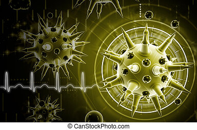Digital illustration of Flu virus in colour background