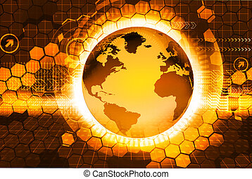 Digital illustration of globe. Abstract Background image