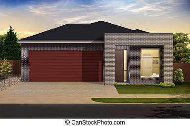 home - Digital illustration of home in colour background