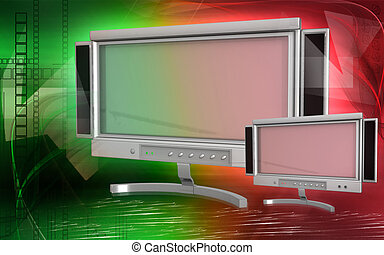 LCD Monitor - Digital illustration of LCD Monitor in colour ...