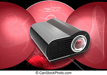 Projector - Digital illustration of Multimedia Projector in...