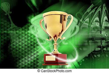 Trophy - Digital illustration of Trophy in colour background