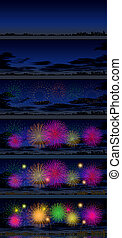 Digital illustration process in 6 steps of a night landscape with fireworks over a city reflected in the water