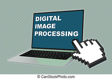 Digital Image Processing concept - 3D illustration of...