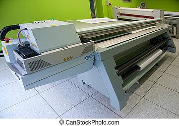 digital, impresión, -, de par en par, formato, impresora