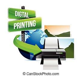 digital, imprimindo, conceito