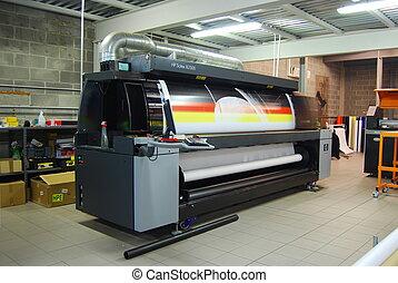digital, imprimindo, -, largo, formato, prin